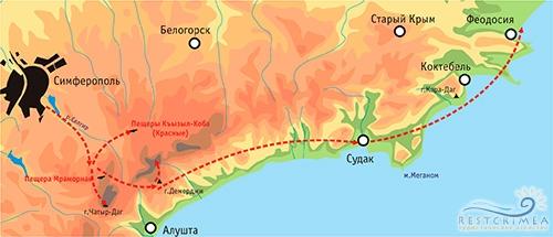 Юго-восточный тур Горы-Море. Карта маршрута