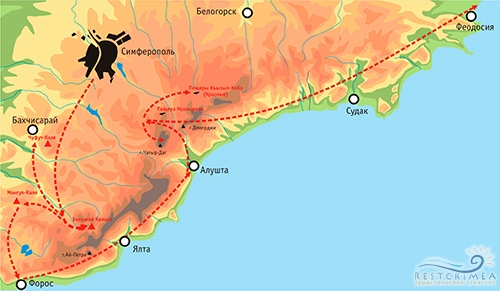 Южный тур Горы-Море. Карта маршрута