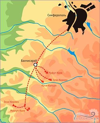 Западный тур Горы-Море. Карта маршрута